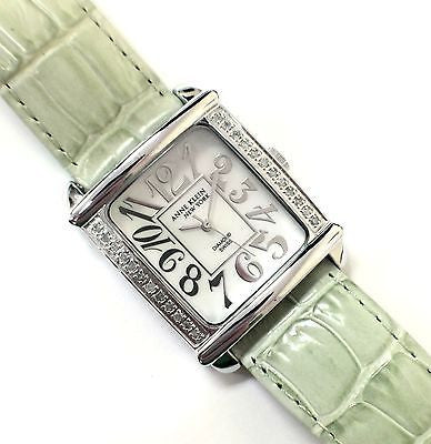 Anne Klein Green Rectangle Diamond Bezel Leather Strap Dress Women's Watch - Sarasota Watch Company