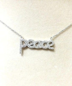 Sterling Silver 925 Peace Cubic Zirconia Necklace Beautiful Piece