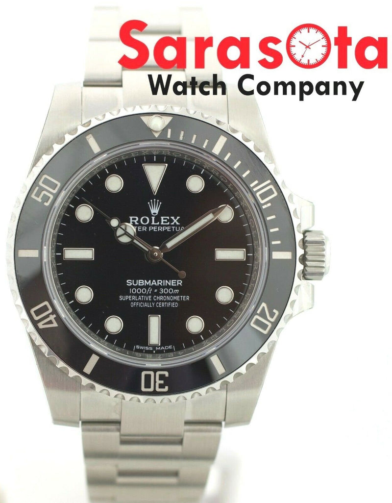 NEW! Rolex Submariner No Date 114060 Black Dial Ceramic W/B/P 2018 Men's Watch