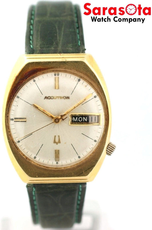 Vintage Bulova Accutron Day/Date 14K Yellow Gold Tuning Fork Men's Watch