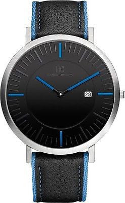Danish Design IQ22Q1041 Black Dial Blue Accent Date Leather Dress Men's Watch