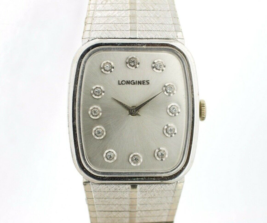Longines Silver Diamond Dial Tonneau Stainless Steel Manual Wind Wrist Watch - Sarasota Watch Company