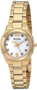 Bulova 97P109 MOP Diamond Dial Gold Tone Stainless Steel Dress Women's Watch