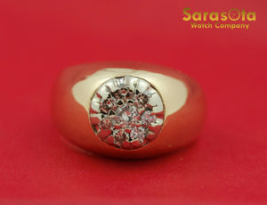 14K Yellow Gold Round Cut 1.0Ct Diamonds Cluster Men's Ring Size 11.5 - Sarasota Watch Company