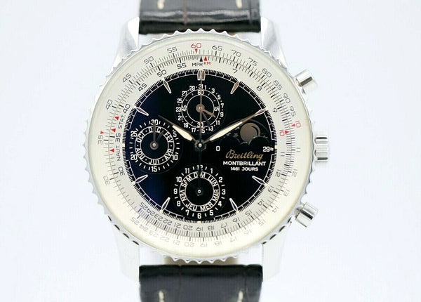 Breitling A19030 Monbrillant Moonphase Automatic Steel Leather Men's Watch