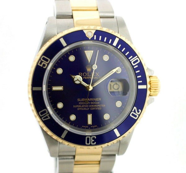 Rolex Submariner 16613 Blue Dial 18K/Steel Two Tone 2000 Automatic Men's Watch