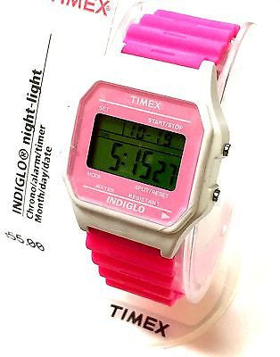 Timex T2N381 White Case Pink Rubber Strap Digital Display Women's Sport Watch