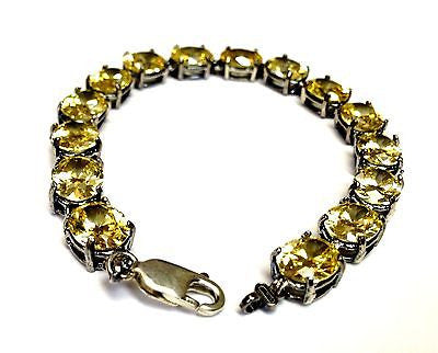 "Sterling Silver .925 Yellow Cubic Zirconia Lobster Lock  8"" Ladie's Bracelet"