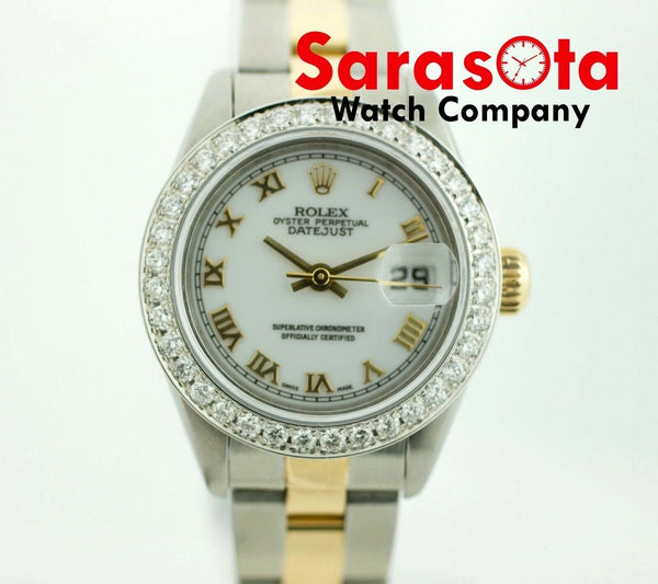 Rolex Datejust 69163 18k/Steel Two Tone White Roman Diamond Bezel Women's Watch