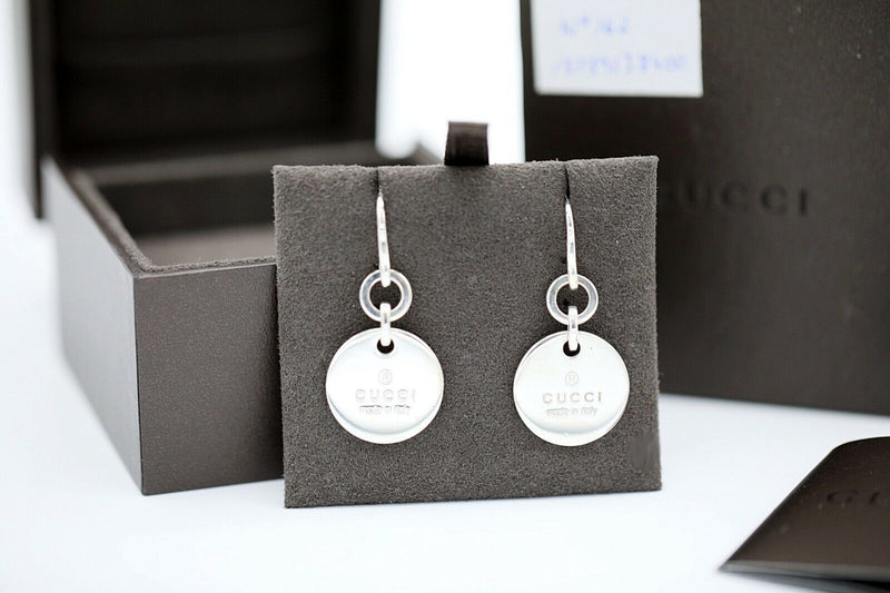 19d5907c1 Authentic GUCCI Trademark Sterling Silver 925 Round Women's Drop Earrings  1.75