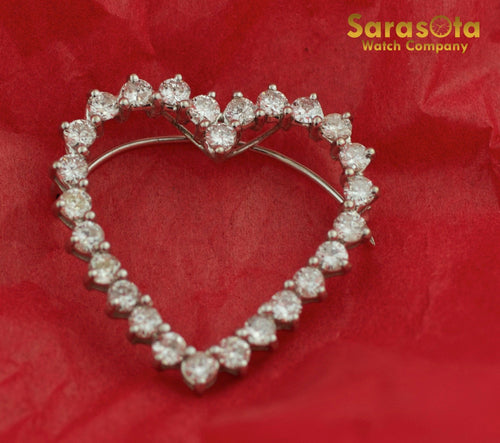 18K White Gold Approx 3.65 Ct Heart Shape Diamond Brooche - Sarasota Watch Company