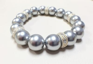 Faux Pearl 12 mm Beads Stretch Light Gray Color Fashion Bracelet