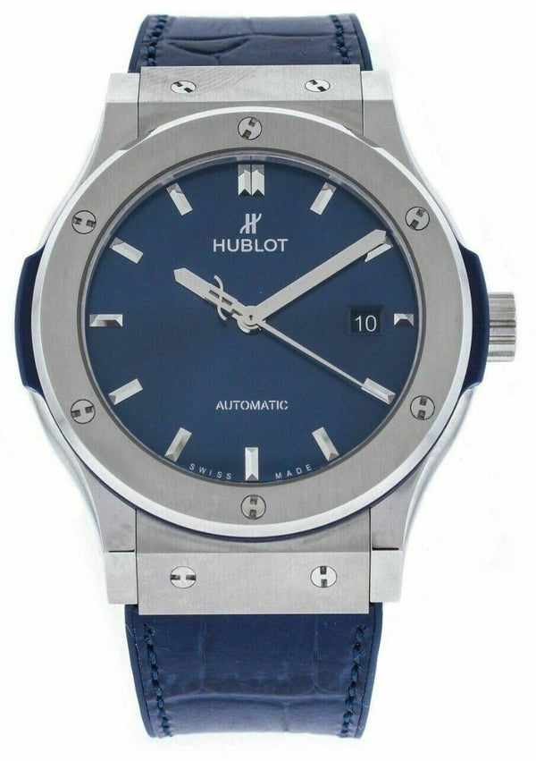 Hublot Classic Fusion 542.NX.717 Blue Titanium 42mm Rubber Automatic Men's Watch
