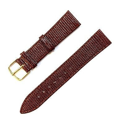 HIRSCH Genuine Lizardlook Leather 19 mm Regular Brown Stitched Watch Band