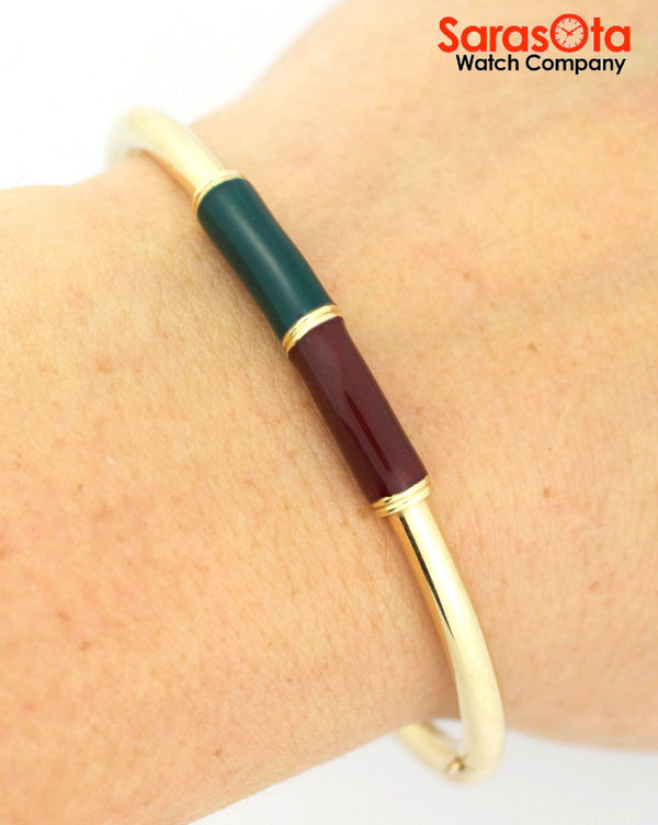 10K Yellow Gold Green/Red Enamel Ladies Bangle Bracelet