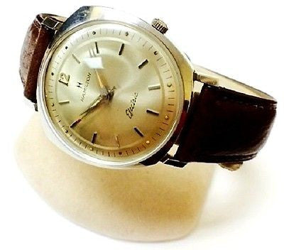 Vintage Hamilton Electric Leather Strap Stainless Steel Dress Men's Watch