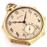 Vintage Waltham 15 Jewels Size 12 Octagon Open Face Gold Tone Pocket Watch