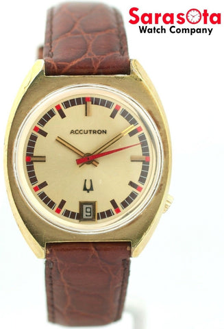 Vintage Accutron N2 18K/10K Gold Plated Champagne Dial Leather Men's Watch