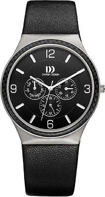 Danish Design IQ12/IQ13Q994 Titanium Leather Strap Black/White Dial Men's Watch