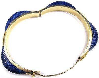 Beautiful 14K Gold Retro Ribbed Sodalite Women's Bangle Bracelet - Sarasota Watch Company