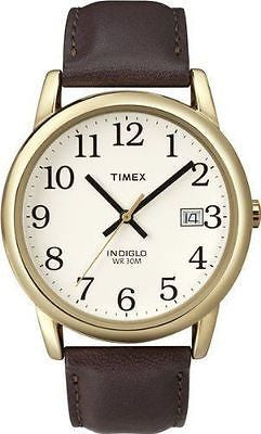 Timex T2N369 Indiglo Brown Leather Band Brass Case White Dial Date Men's Watch