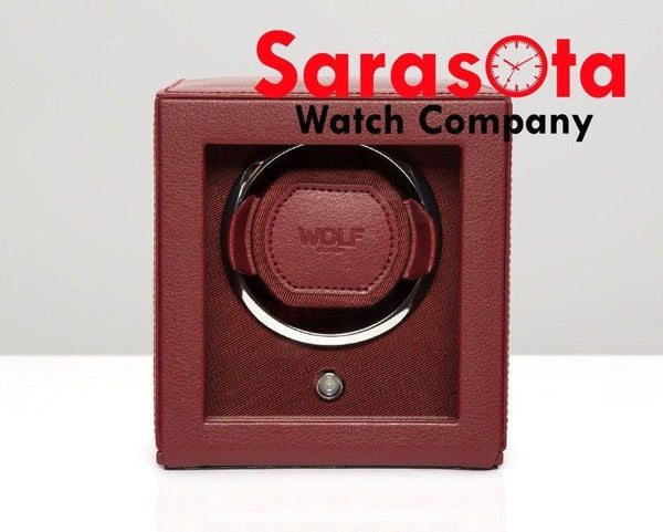 Wolf Designs 461126 Bordeaux Single Cub Watch Winder With Cover