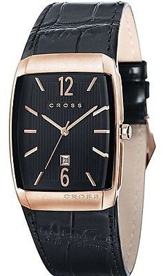 Cross WMAT85 Black Dial Rectangular Rose Gold Case Classic Analog Men's Watch