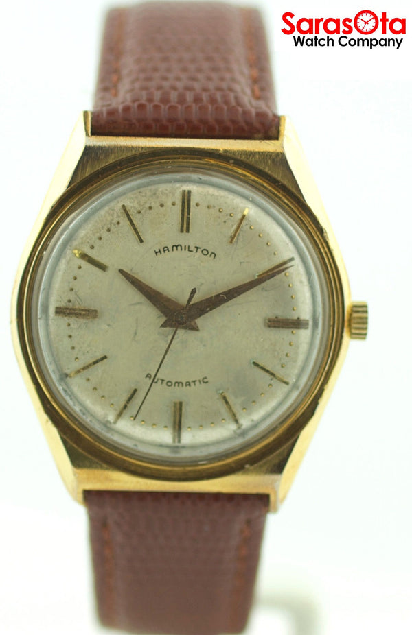 Vintage Hamilton Stainless Steel Brown Leather Automatic Dress Men's Watch