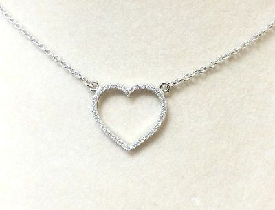 Sterling Silver 925 Heart Cubic Zirconia Necklace Beautiful Piece