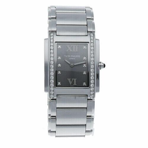 Patek Philippe 24 Diamond's Stainless Steel Gray Dial 25mm Quartz Ladie's Watch