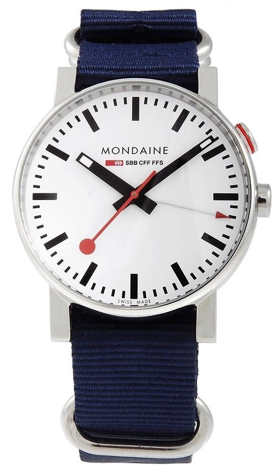 Mondaine A468.30352.11SND White Dial Blue Nylon Alarm Swiss Quartz Men's Watch