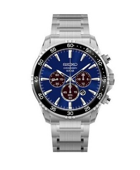 Seiko SSC445 Chronograph Blue Dial 44mm Stainless Steel Solar Men's Watch