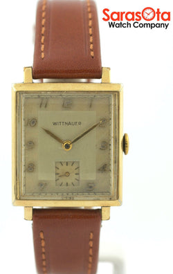 Vintage Wittnauer 10K Yellow Gold Filled Brown Leather Rectangle Men's Watch