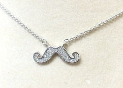 Sterling Silver 925 Mustache Cubic Zirconia Necklace Beautiful Piece