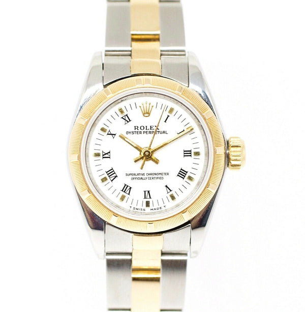 Rolex Oyster Perpetual 67233 Two Tone Roman White Dial Automatic Women's Watch