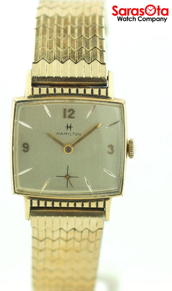 Vintage Hamilton 10K Gold Plated Bezel Expansion Band Hand Winding Men's Watch