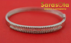 "14K White Gold 2.0Ct H/VS1 Diamond Hinged 2.3"" Bangle Bracelet"