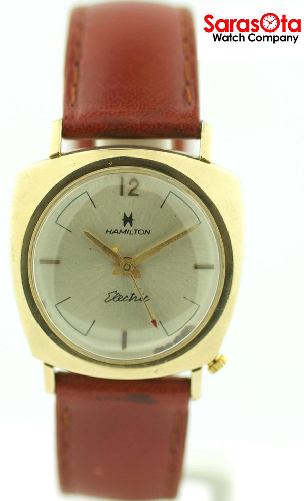 Vintage Hamilton Electric 10K Gold Filled Brown Leather Hand Winding Men's Watch