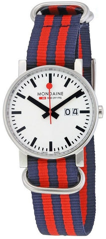 Mondaine A627.30303.11SND Swiss Quartz Navy/Red Nylon Strap Men's Watch