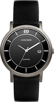 Danish Design IQ13Q858 Titanium Case Leather Band Black Dial Date Men's Watch