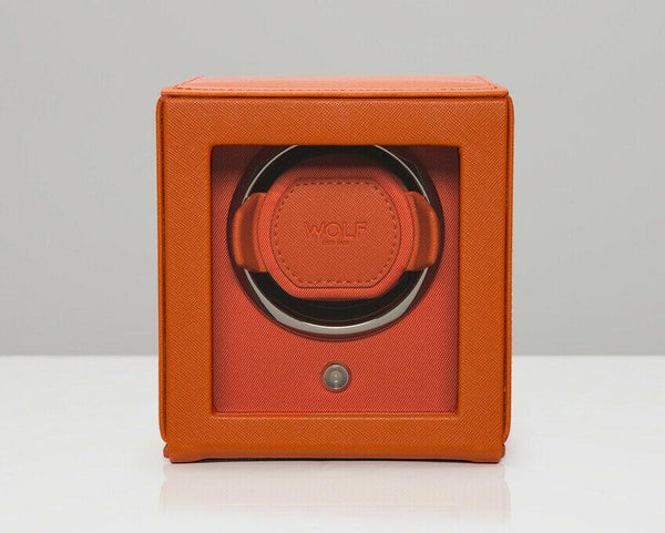 Wolf 461139 Cub Single Watch Winder with Glass Cover Orange