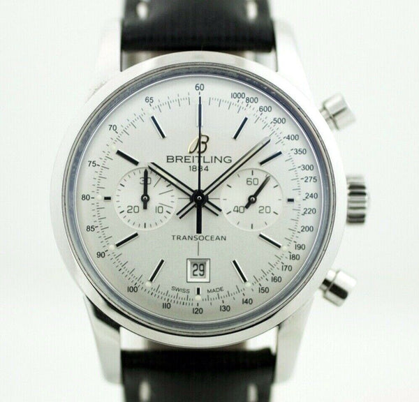 Breitling A41310 Transocean Chronograph 38 Steel Leather Automatic Wrist Watch