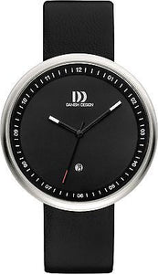 Danish Design IQ13Q1002 Black Dial SS Black Leather Band Men's Watch