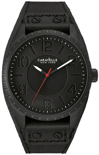Caravelle New York 45B125 Black Leather Stainless Steel Quartz Men's Watch