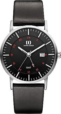 Danish Design IQ13Q1061 Stainless Steel Case Leather Band Black Dial Men's Watch