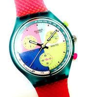Swatch AG 1990 Chronograph Pink Resin Band Multi Color Dial Women's Watch