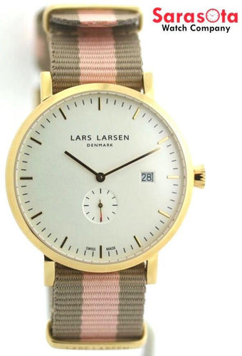 Lars Larsen Sebastian 131GWSN White Soft Nato Nylon Gold Tone Dress Unisex Watch