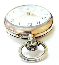 Coin Silver Pocket Watch Arabic Numerals White Dial