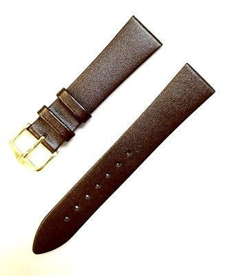 HIRSCH Diamond calf Genuine Leather 19 mm Regular Dark Brown Flat Watch Band