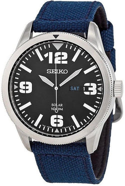 Seiko SNE329 Stainless Steel Black Dial Blue Nylon Solar Day/Date Men's Watch